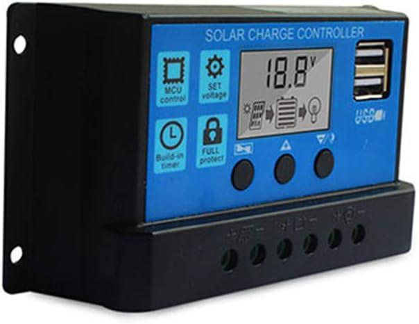 24V r/églable LCD r/égulateur de Batterie de Panneau Solaire avec Double Port USB Leepesx Contr/ôleur de Charge Solaire 30A contr/ôleur de Panneau Solaire 12V