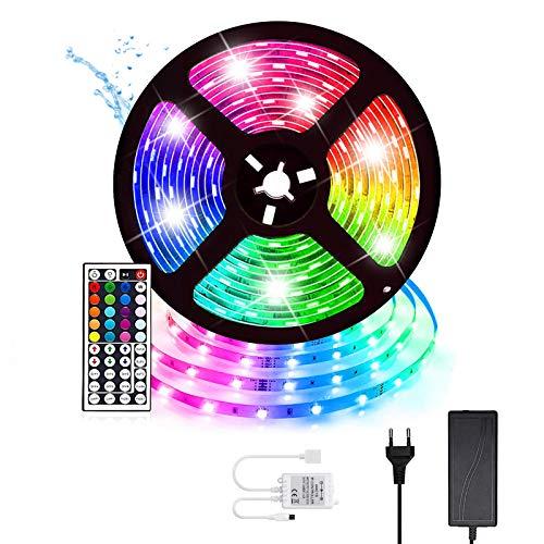 Tiras LED Luces LED TV Impermeable Strip LED RGB 5M 300LEDs 5050 Luces LED con Control Remoto IR de 44 Teclas y Caja de Control Kit de Tiras...