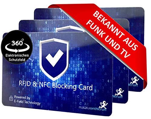 MakakaOnTheRun RFID Blocker Karte ultra dünn 0,8mm I Neuste 360° RFID NFC Blocker Karte I NFC Schutz für Geldbörse, EC- & Kreditkarte I Schutzkarte, Schutzhülle, Kartenhülle I 3 Stk