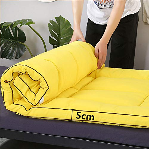HOMRanger Esponja Tatami Japonesa Colchón Futón,Plegable Roll Up Soft Easy Storage No-resbalón Respirable Colchoneta para Dormitorio Huésped-Amarillo 120x200cm(47x79inch)