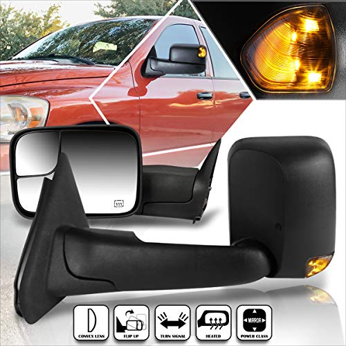 Compatible with Dodge Ram 1500-3500 02-09 Power+Heated Towing Mirror+Smoked LED Signal Lamp