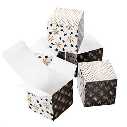 Logbuch-Verlag 25 kleine Geschenkboxen edel weiß gold schwarz Weihnachten Geschenkschachtel Verpackung 7 x 7 cm Box für Weihnachtsgeschenk Kunde Schmuckschatulle give-away