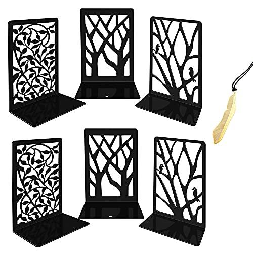 Iycnkok Sujetalibros Sujeta Libros Estantería de Metal, Marcapáginas Incluido, Soporte Libros Diseño de árbol/ Pájaro/Hoja, ideal para Infantil, Oficina, Escuelas, Decoración Escritorio, 3 Pares Negro
