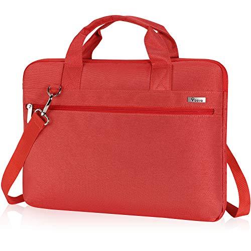 Voova 15.6 Zoll Laptoptasche 15 Zoll Laptop Hülle Tasche mit Griff Schulterriemen, Wasserdicht Laptop Bag Notebook Tasche Schultertasche für MacBook Pro 15.4 16 / Surface Book 15,Damen Herren Rot