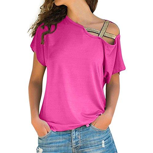 OSYARD Damen Sommer Lose Freizeit Schulterfrei T-Shirt Kurzarm Tops Lässige Solid Bluse One-Shoulder-Top