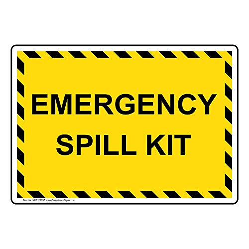 ComplianceSigns Emergency Spill Kit Label Decal, 5x3.5 inch 4-Pack Vinyl for Hazmat Industrial Notices Facilities