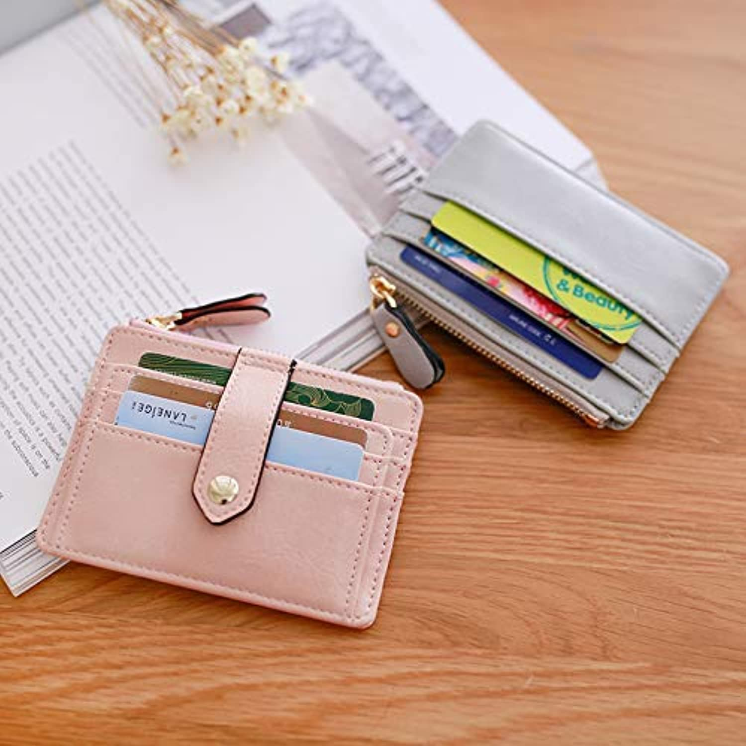 Card Package Women's Korean Korean Version of The UltraThin MultiCard Position Simple Mini Document Small Purse (color   Pink) Ladies Purses (color   Pink)