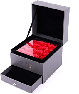 FabSelection Jewelry Box,Flower Rose Gift Case, Never Withered Roses, Upscale Immortal Flowers, Eernal Life Flowers for Love Ones, Gift for Valentine's Day, Anniversary, Birthday (Ring Not Include)