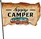 Viplili Flagge/Fahne, Happy Camper Camping Fahnen Flaggen Durable Fade Resistant Decorative Flags Premium Flag with Grommets Polyester Deluxe Outdoor Banner for All Seasons & Holidays- 3X5...