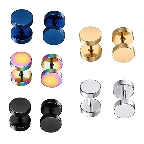 Dot Earrings, High Polished Surgical Steel Screw Flat Back 8MM Disc Stud Earrings for Women Men Pack of 5 Pairs(3MM/5MM/8MM Option) (8MM/0.32 Studs)
