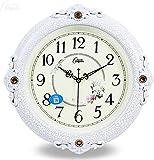 NSYNSY Reloj de Pared Retro Europeo, Reloj de Cuarzo Decorativo Vintage sin tictac, Movimiento de Barrido AA con Pilas, School-e, 16 Pulgadas (40,5 cm)