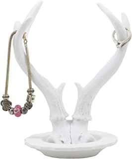 Contemporary Big Buck Deer Antler Jewelry Stand with Tray Display Rack or Decorative Key..