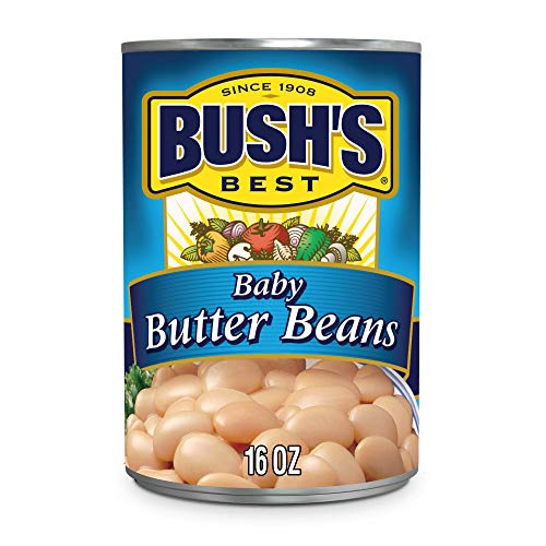 BUSH'S BEST Canned Baby Butter Beans (Pack of 12), Source of Plant Based Protein and Fiber, Low Fat, Gluten Free, 15.5 oz