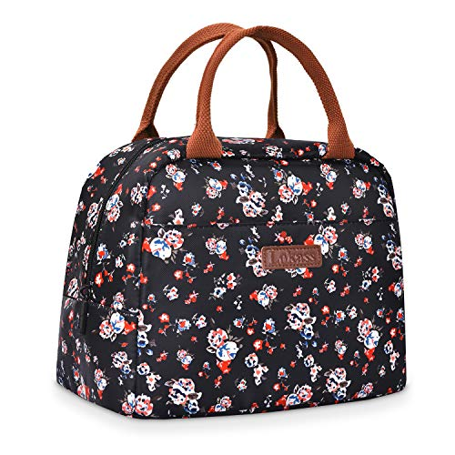 LOKASS Lunch Bags for Women, Insulated Lunch Box Thermal Lunch Tote Bag for Women, Floral
