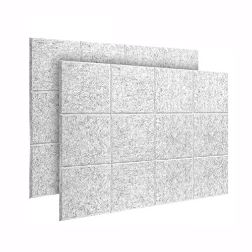 DEKIRU 24 Pack Sound Proof Padding, 12 X 12 X 0.4 Acoustic Panels Soundproofing Panels Sound Absorbing Panel High Density Beveled Edge Tiles, Great for Wall Decoration and Acoustic Treatment (White)