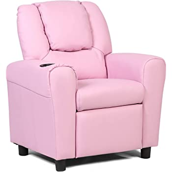 HONEY JOY Kids Recliner Chair, PU Leather Armchair with Holder and Headrest, Lounge Furniture for Boys and Girls, Sturdy Wood Frame, Sofa Chair Suitable for Living Room, Bedroom (Pink)