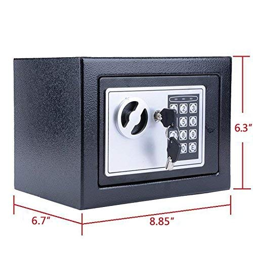 BATHWA Digital Electronic Safe Security Box, Small Wall-Anchoring Safe for Home & Office, Cabinet Safe with Keypad for Money, Jewelry, Cash, Gun - with Batteries and Tools Photo #7