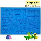 3D Pen Mat 16.4 x 10.9 inch, large 3D Printing Pen Silicone Design Mat with basic and animal patterns,upgraded Silicone Mat with 2 finger protectors, 3D Pens Drawing Tools for kids and 3D pen artists