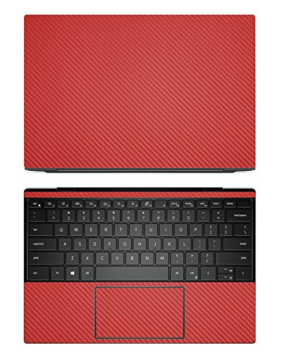 """Decalrus - Protective Decal for Dell XPS 13 9300/9310 (13.4"""" Screen) Laptop RED Carbon Fiber Skin case Cover wrap CFdellXPS13_9300Red"""