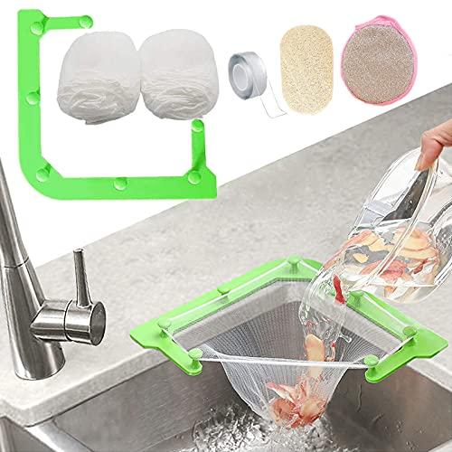 HiBD Kitchen Sink Triangle Tri-Holder Filter, Kitchen Sink Strainer, Sink Drain Strainer, with a Triangular Green Rack and 100PCS Large Size Filtering Mesh Bags for Kitchen Leftover