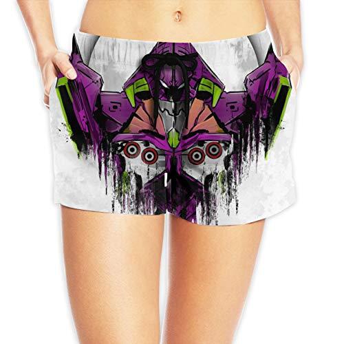 YUERU Neon Genesis Evangelion Damen Strandhose Elastische Taille Kordelzug Seitentaschen Mode Shorts Outdoor Damen Gr. M, weiß