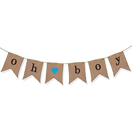 BABY SHOWER IT/'S A BOY BABY FEET HESSIAN BURLAP BANNER BUNTING PARTY SUPPLIES
