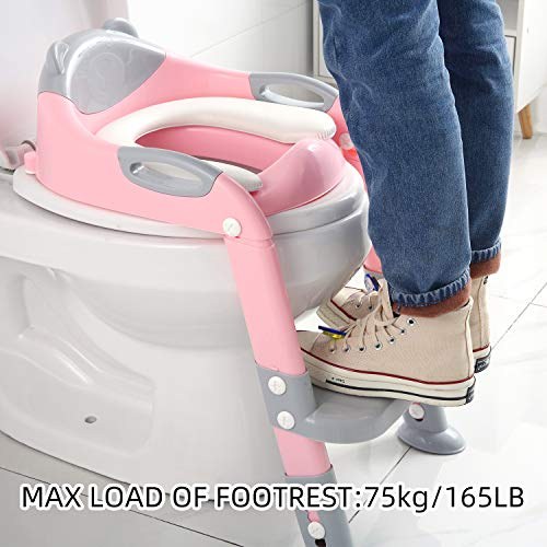 Potty Training Seat Ladder Girls, Toddlers Toilet Training Potty Seat, Kids Potty Training Toilet Seat with Ladder (Gray/Pink)