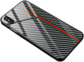 iPhone 7/8 / X/XR/XS/XS Max Carbon Fiber Shockproof Stylish Luxury Designer Fashion Case Cover with Tempered Glass Back (Green/Red, XS Max)