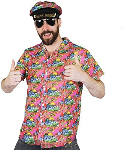 Disfraz de Hawaian para hombre, color rosa, con gorro de vela a juego y gafas de sol de aviador, para adultos, verano, playa, fiesta, disfraz de disfraz de disfraz (extragrande)