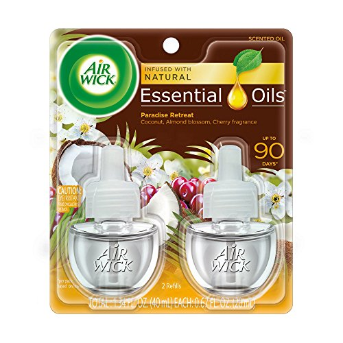 Air Wick plug in Scented Oil 2 Refills, Paradise Retreat , (2x0.67oz), Essential Oils, Air Freshener