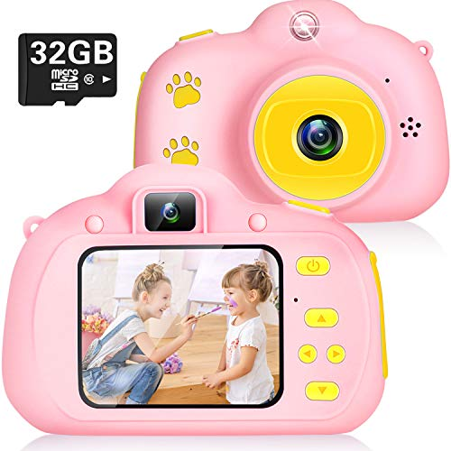 Cámara Digital para Niños Juguetes para Niños Cámara Fotos Niños Pequeños 2 Inch HD Pantalla 1080P with Calidad 32GB TF Tarjeta Cumpleaños Regalos Cámara Juguetes para 3 a 12 años Niñas y Niños (Rosa)