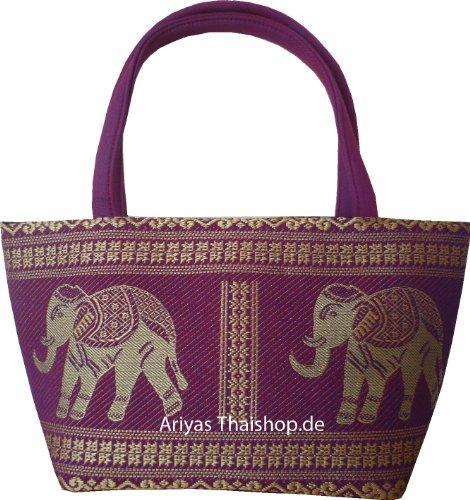 Kleine Handtasche aus Baumwolle / Seide mit Elefanten Muster von Ariyas Thaishop