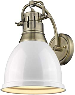 Golden Lighting 3602-1W AB-WH Duncan Sconce - Damp, Aged Brass with White Shade