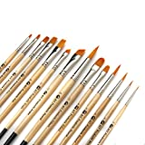 AIT Art Paint Brush Set - 14 Paint Brushes - Rounds, Flats, Angle Shaders, and Filberts - Handmade in USA for...