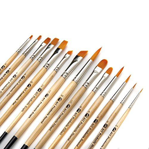AIT Art Paint Brush Set - 14 Paint Brushes - Rounds, Flats, Angle Shaders, and Filberts - Handmade in USA for Trusted Performance with Oil, Acrylic, and Watercolor