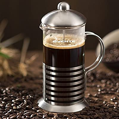 Ovente French Press Coffee and Tea Maker 34 Ounce with Triple Filter Stainless Steel Plunging System, Durable Borosilicate Heat Resistant Glass and Free Measuring Scoop (7 Gram), Silver (FSH34S)