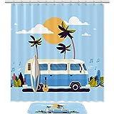 TIZORAX Sommerferien Bus Bad Duschvorhang Set mit rutschfesten Bad Teppichen Bodenmatte Home Decoration