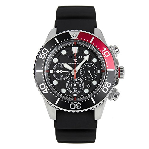 SEIKO Prospex Sea Diver's 200m Chronograph Solar Sports Watch Black/Red SSC617P1