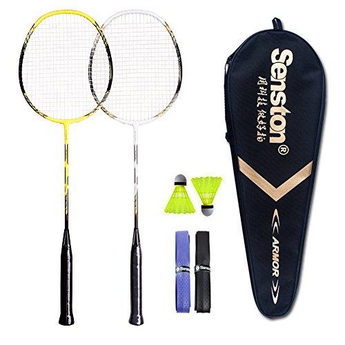 Senston - 2 Player Badminton Racket Set Badminton Racquets with Shuttlecocks - Including 2 Rackets White Yellow