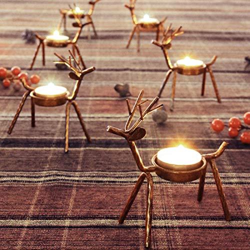 FORUP 6 Pack Metal Reindeer Tea Light Candle Holders, Christmas Decoration for Home, Reindeer Candle Holder, Metal Candle Holder, Christmas Candle Holder
