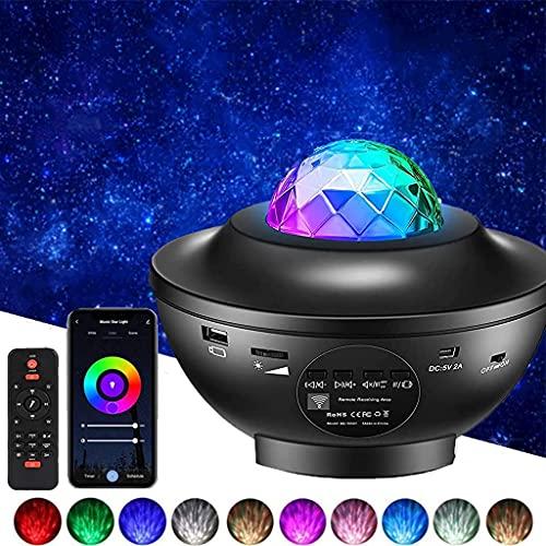YunLone Proyector Estrellas,Proyector Galaxy con Altavoz Bluetooth,lámpara giratorio de Mesa Infantil con Modo personalizado,Iluminación Infantil Nocturna con Temporizador,Decoración de la habitación