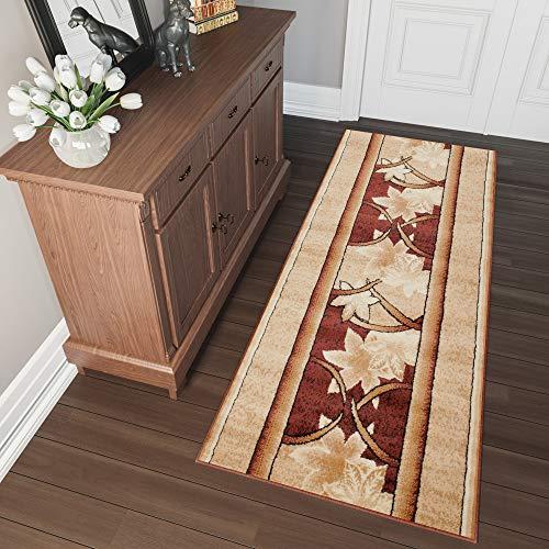 TAPISO Atlas Läufer Flur Kurzflor Teppich Küche Wohnzimmer Retro Herbst Blatt Floral Streifen Muster Braun Beige ÖKOTEX 60 x 150 cm