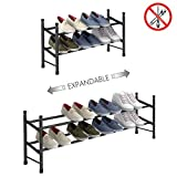 TZAMLI 2-Tier Free Standing Shoe Rack Metal Iron of Expandable and Adjustable Shoes Organizer,...
