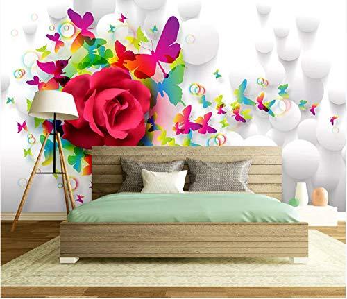 Wallpaper Murales Mariposa Rosa 3D Fotomurales Para Fondo De Tv Dormit