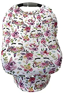 5-in-1 Multi Use Cover -Infant Car Seat and Shopping cart Cover Nursing Cover Up in Pink Unicorn