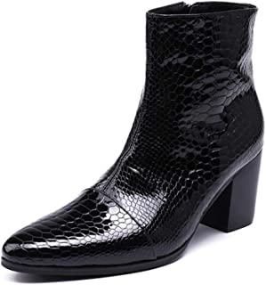 Rui Landed Ankle Boot for Man High Top Boot Slip On Style Genuine Leather Delicate Snake Skin Delicate Zipper (Color : Black, Size : 12 M US)