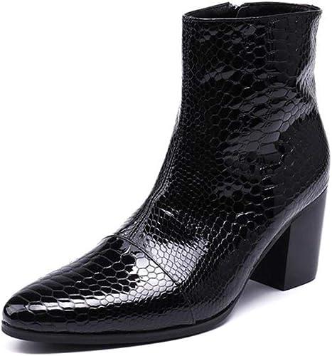 Rui Landed Bota de Tobillo para Hombre Bota de Bota Superior Alta Estilo de Piel Genuina Piel de Serpiente Delicada Cremallera Delicada Discoteca (Color   negro, tamaño   37 EU)