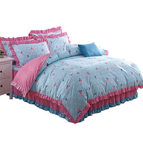 XXT Modestars Vierteiliger Bett-Rock, Bettdecke, Bett-Rock-Bett-Abdeckungs-Staubschutz, nach Hause gefalteter dreidimensionaler Bett-Rock Textil (Color : D, Size : 1.5m*2.0m)
