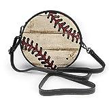 naotaori Bolso redondo mujer Women's Round Vegan Leather Crossbody Satchel Shoulder Handbag Baseball Wooden Texture Circle Tote Hobo Bag For Women Sling Bag