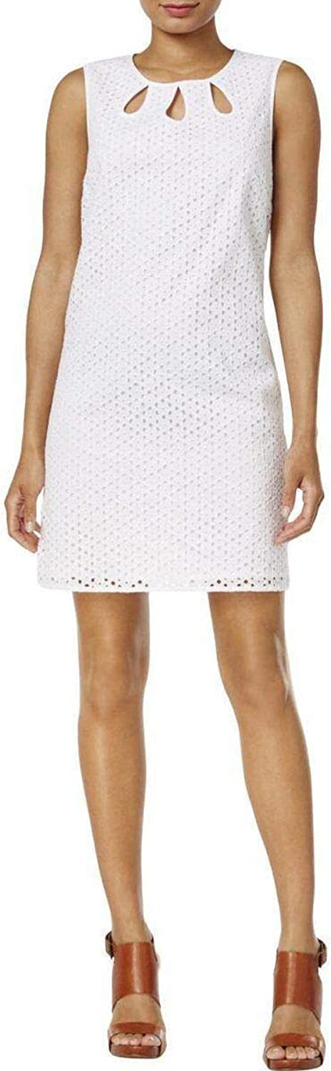 Maison Jules Womens CutOut Sleeveless Cocktail Dress White L